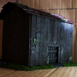 Wargame scenery barn - Front Corner View