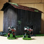 Wargame scenery barn - with Space Marines