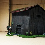 Wargame scenery barn - kicking down the doors