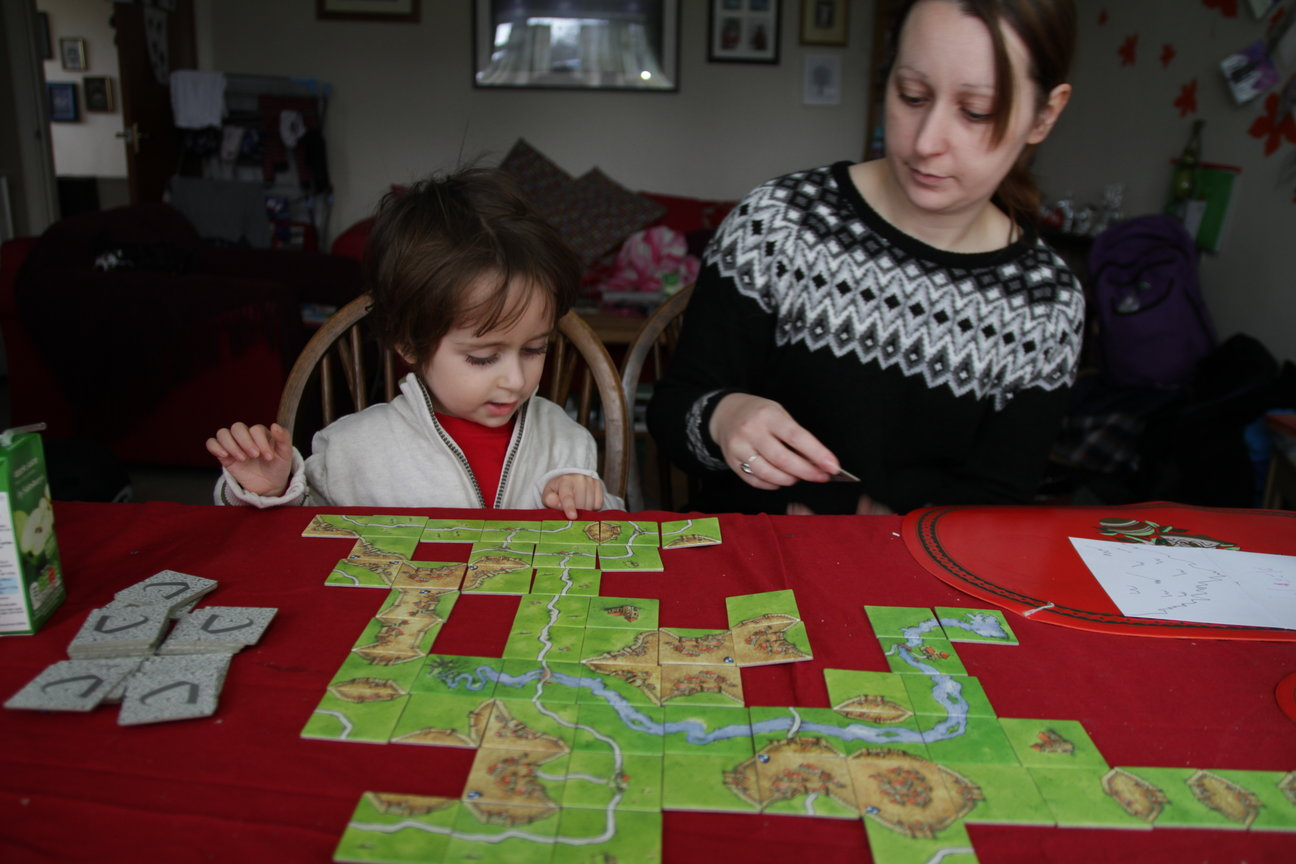 Playing Carcassonne with a tiny child
