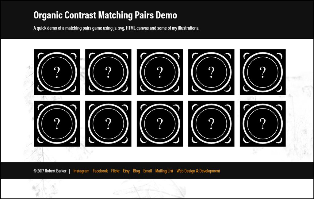 Organic Contrast Matching Pairs Demo with animated SVG and HTML canvas