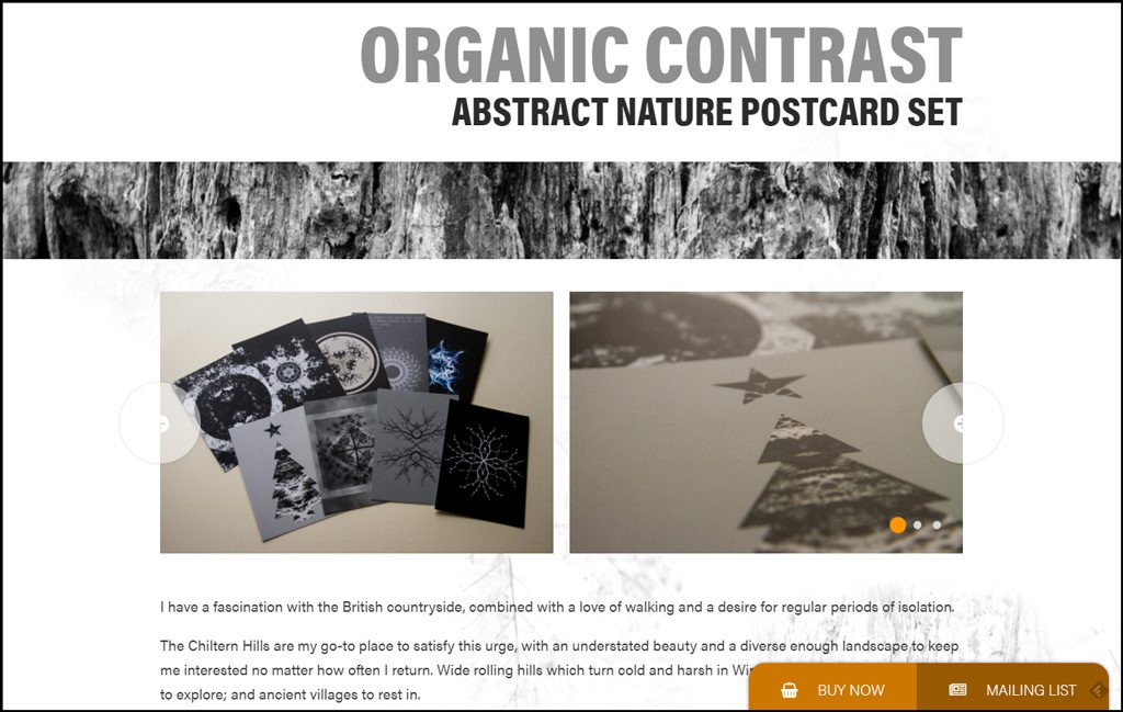 Organic Contrast Abstract Nature Postcard Set Landing Page
